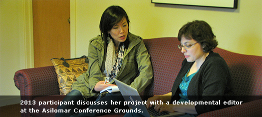 2013 participant discusses her project with a developmental editor at the Asilomar Conference Grounds.